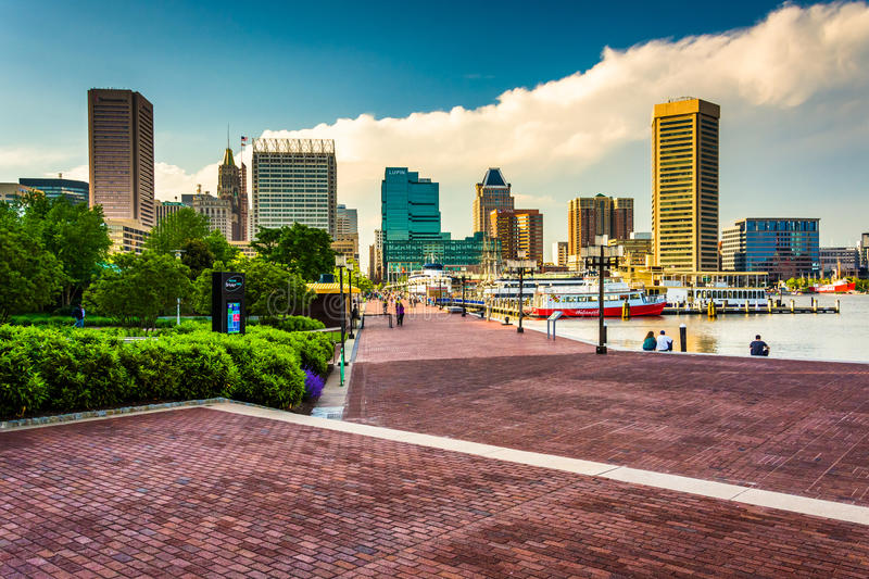 The Waterfront Promenade and skyline at the Inner Harbor in Baltimore, Maryland. royalty free stock image