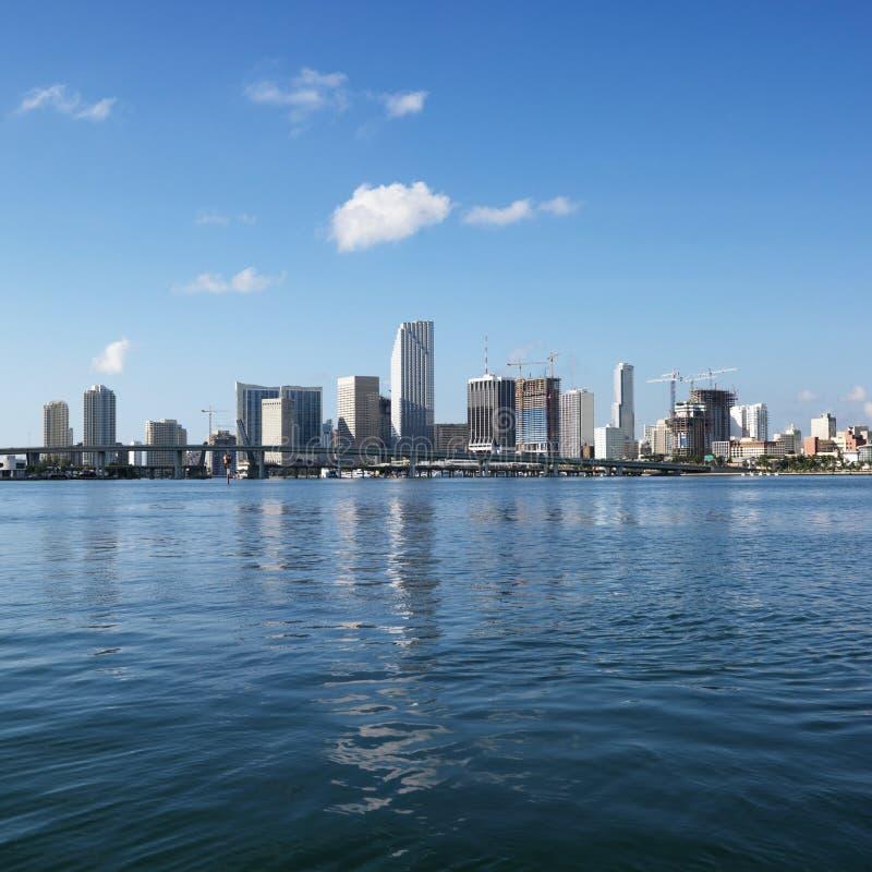 Waterfront skyline of Miami royalty free stock image