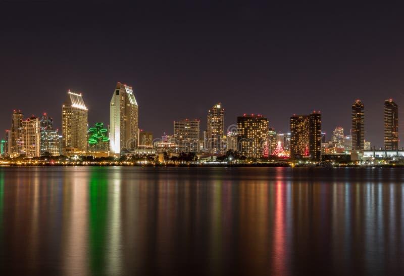 Waterfront skyline at night stock photo