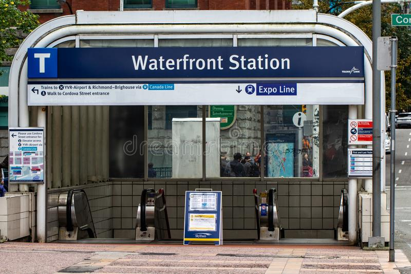 Waterfront Station entrance to skytrain royalty free stock photography