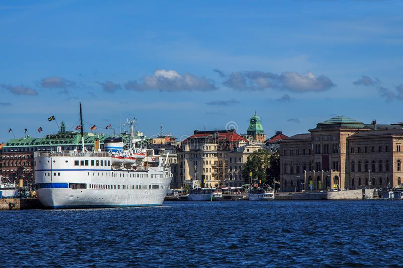 Waterfront in Stockholm Sweden. Waterfront view in Stockholm Sweden with museums and ships stock images