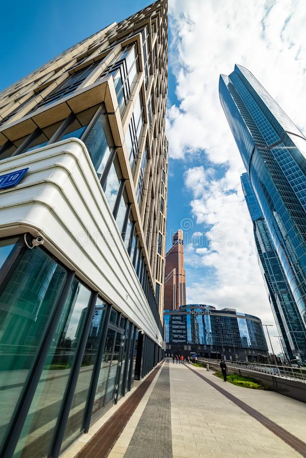 Waterfront tower - the complex of three buildings. City the Moscow . Waterfront tower - the complex of three buildings of different floors on the 10th section of stock photography