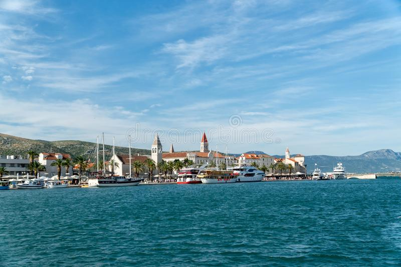 Waterfront view at coastal croatian town Trogir - famous touristic and historic place in Croatia royalty free stock photography