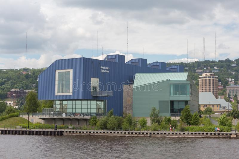 Great Lakes Aquarium. Waterfront view of the Great Lakes Aquarium in Duluth , Minnesota . A popular place to visit for tourists and locals alike royalty free stock photo