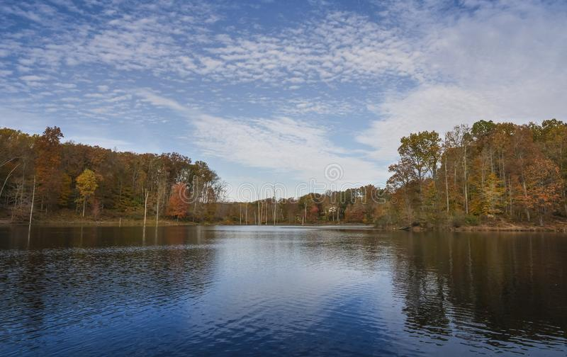 Waterfront view of Little Seneca Lake at Black Hill Reginal Park stock photo