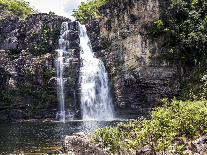 Waterfsll i nationalpark för Chapada DOS Veadeiros royaltyfria bilder