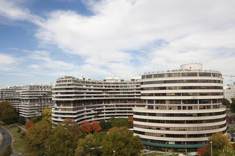 Watergate Complex, Washington DC. The Watergate complex is a group of five buildings next to the John F. Kennedy Center for the Performing Arts in the Foggy royalty free stock photo