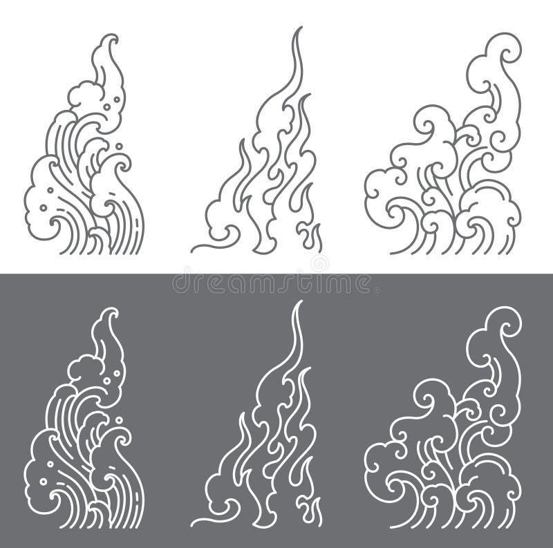Watergolf, brand, de vector van de wolkenlijn De regels van de driehoeksvorm van Thais art. vector illustratie