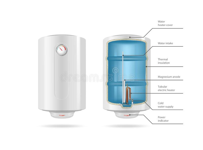Vector drawing of a white open-type water heater royalty free stock images