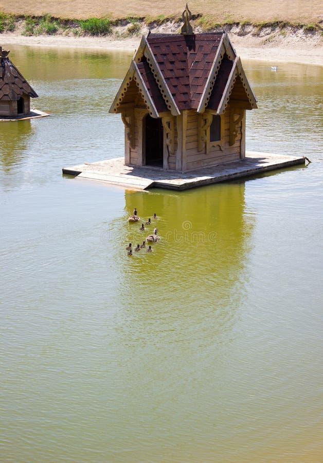 Waterhuis voor eenden en zwanen - in het park, watervogels royalty-vrije stock afbeelding