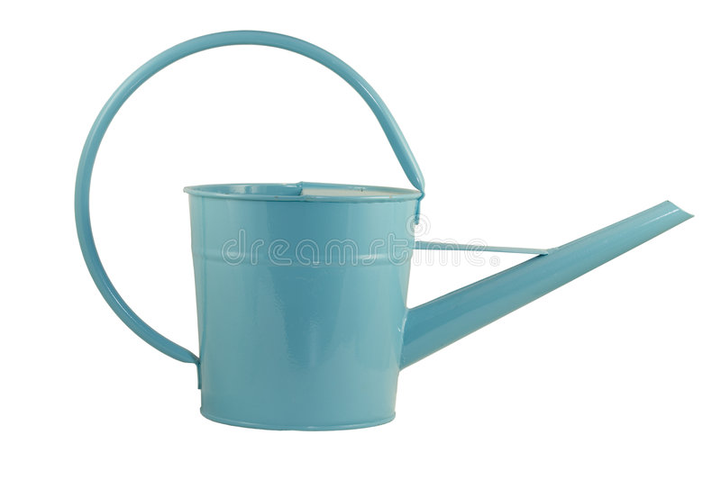 Watering bucket. Isolated blue watering bucket with curved handle stock photos