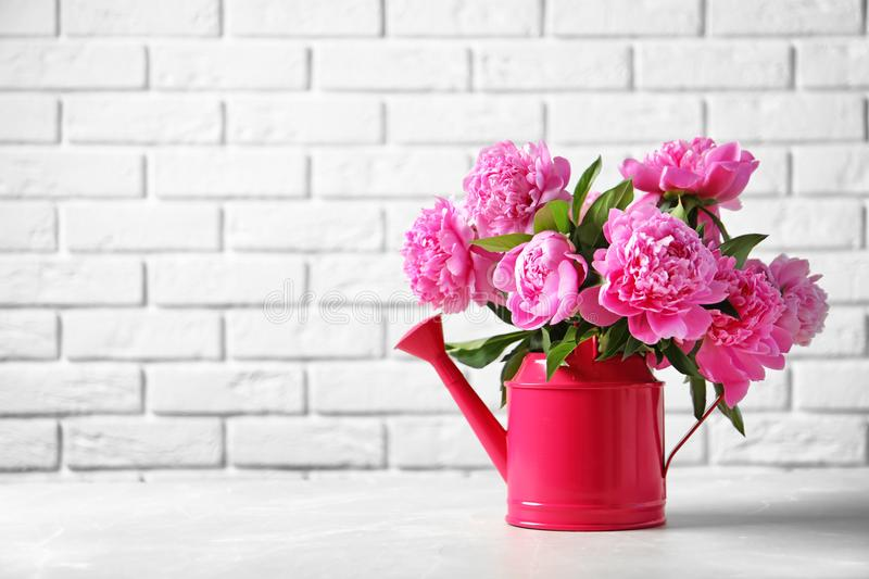 Watering can with beautiful peony flowers. On table against brick wall royalty free stock photos