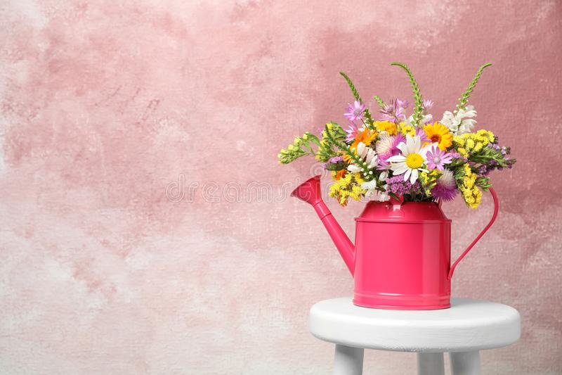 Watering can with beautiful wild flowers. On table against color background royalty free stock photo
