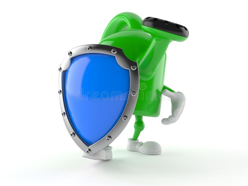 Watering can character with shield stock illustration