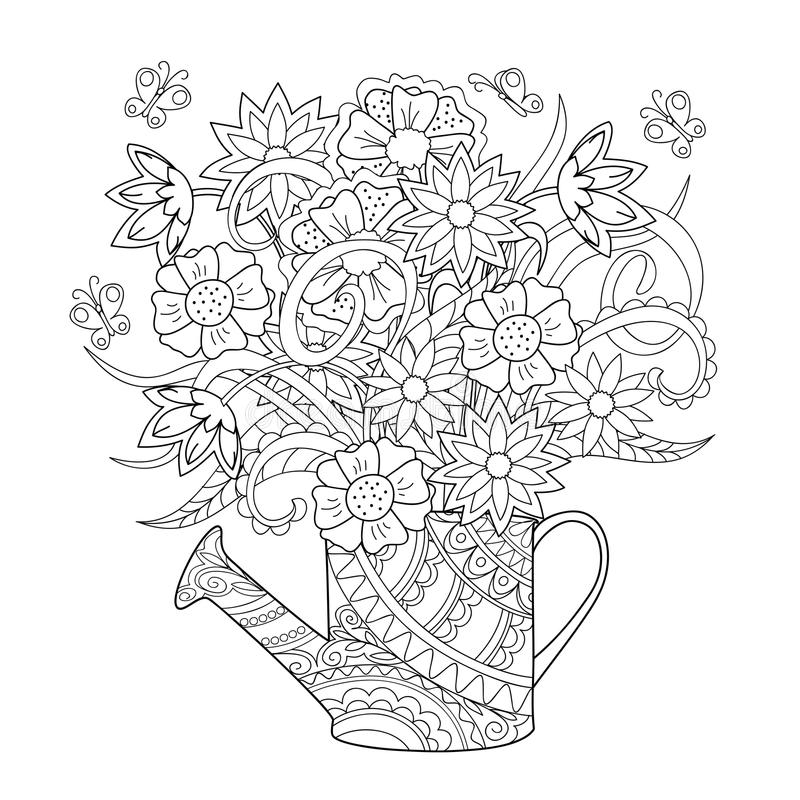 Watering Can With Flowers Stock Vector - Image 65676474-1896