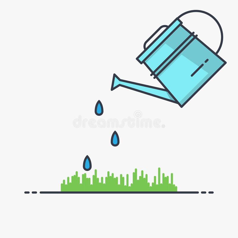 Watering can and grass. Watering can sprays water drops above lawn. Thin line vector style illustration vector illustration
