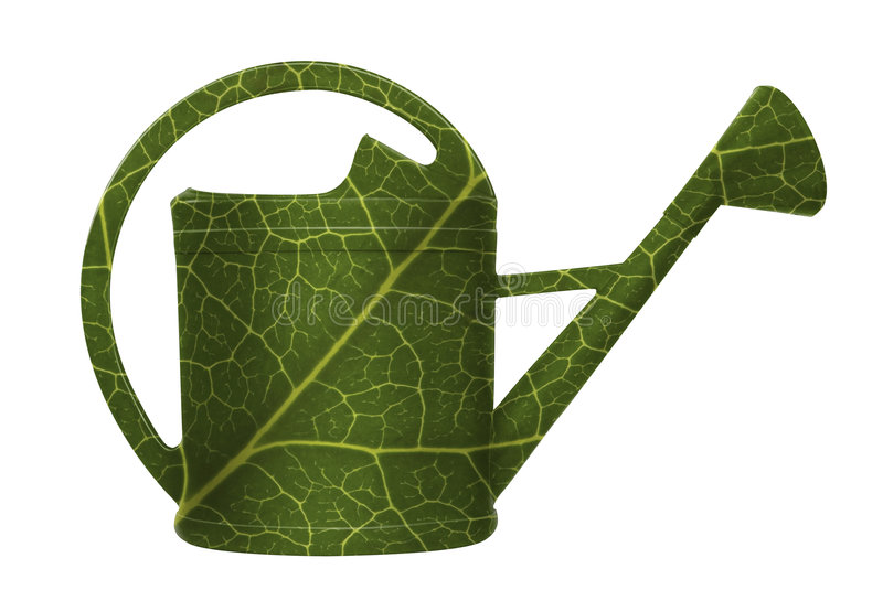 Watering can in leafs green stock photos