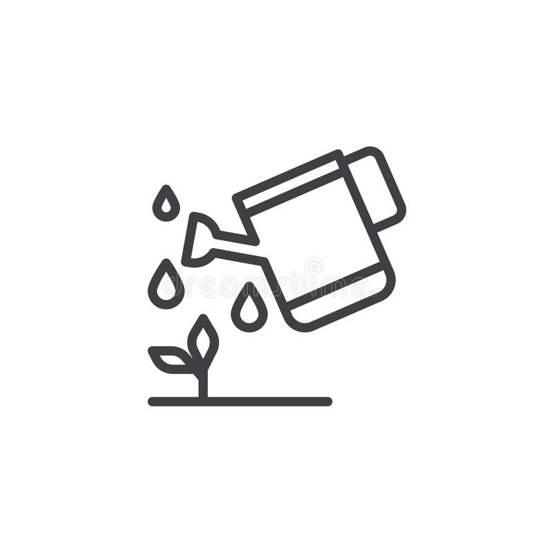 Watering can watering plant outline icon stock illustration