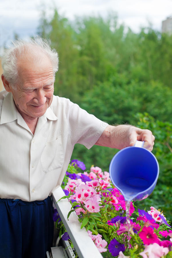 Watering The Flowers. Smiling senior man watering the flowers on his balcony stock photography