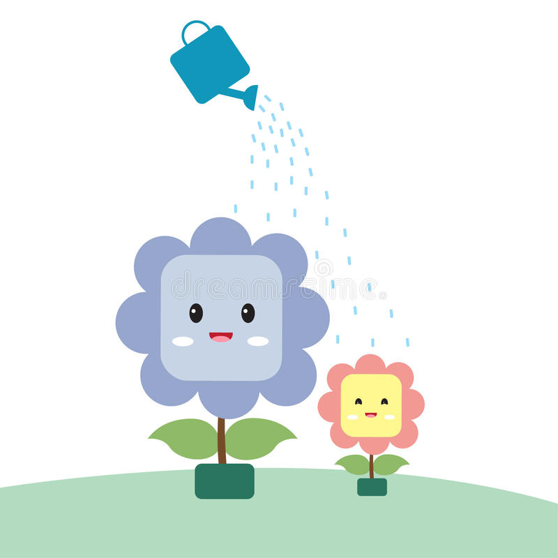 Watering the flowers to grow royalty free stock image