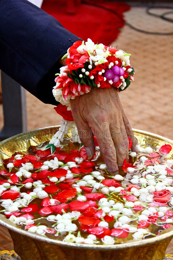 Watering funeral ceremony of dead people in Thailand royalty free stock images