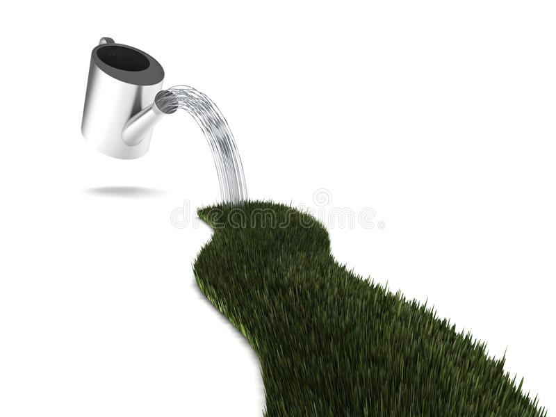 Watering grass royalty free stock photos