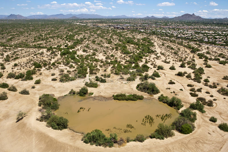 Watering Hole. Aerial view of a desert watering hole after a recent rain stock image