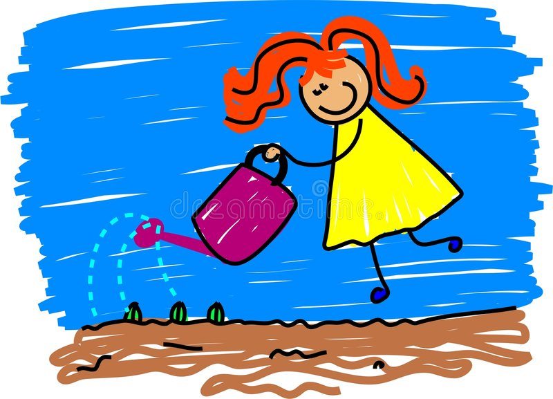 Watering kid royalty free illustration