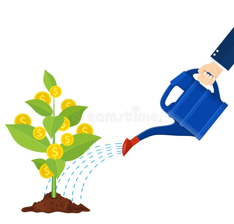 Free Watering Money Coin Tree With Can. Illustration. Stock Image - 108862131