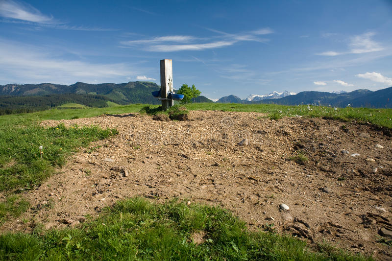 Watering place. For cows on top of Zugerberg hill above Zug in Switzerland stock images