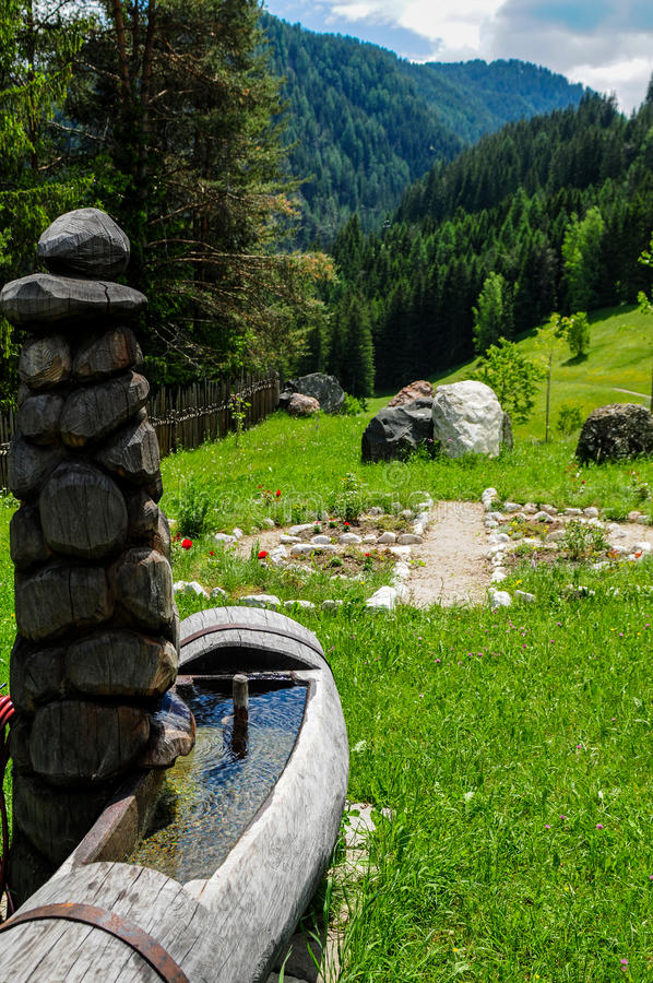 Watering place. Italy - Trentino Alto Adige - San Martino in Badia (Sankt Martin in Thurn in German, San Martin de Tor in Ladino) is an Italian town of 1,726 royalty free stock photography