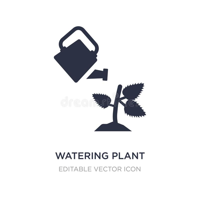 Watering plant icon on white background. Simple element illustration from Nature concept. Watering plant icon symbol design stock illustration