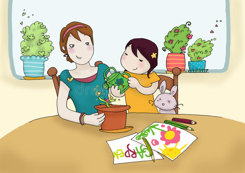 Download Watering plant together stock illustration. Image of puppet - 13051844