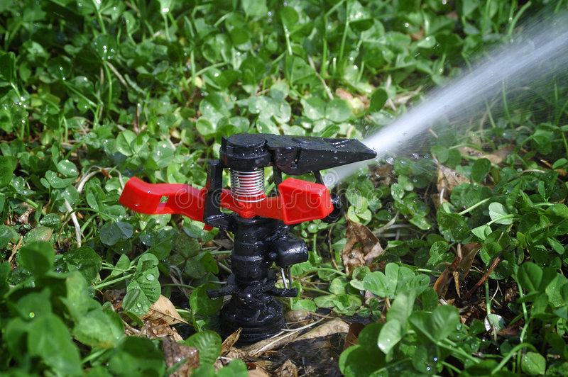 Watering in spring stock photos