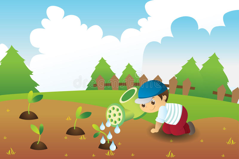 Watering in spring. Cute boy watering the seeds of the earth in spring vector illustration