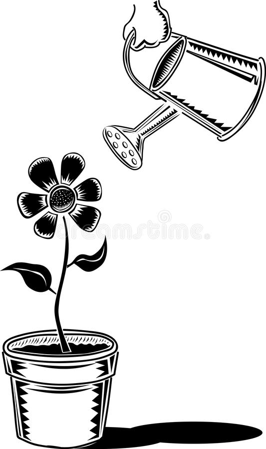 Watering vintage black and white royalty free illustration