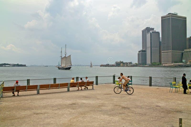 Waterkant bij het Park New York van de Brug van Brooklyn royalty-vrije stock afbeeldingen