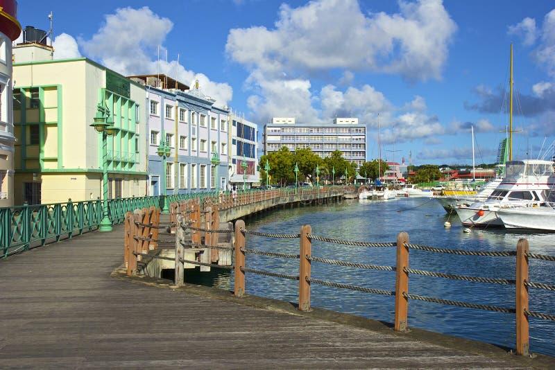 Waterkant in Bridgetown - Barbados stock afbeeldingen