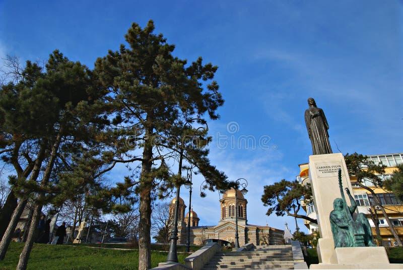Waterkant in de Zwarte Zee in Constanta-Stad, Roemenië stock foto's