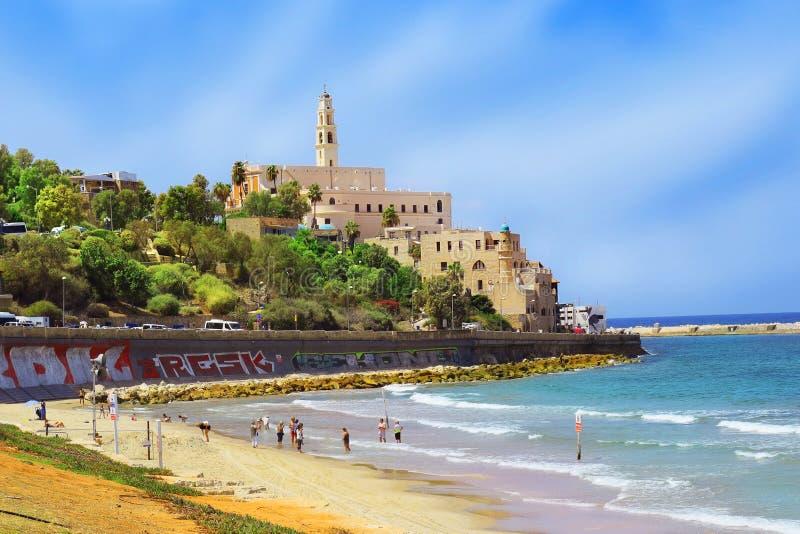 Waterkant en strand van oude Jaffa, Tel Aviv, Israël royalty-vrije stock fotografie