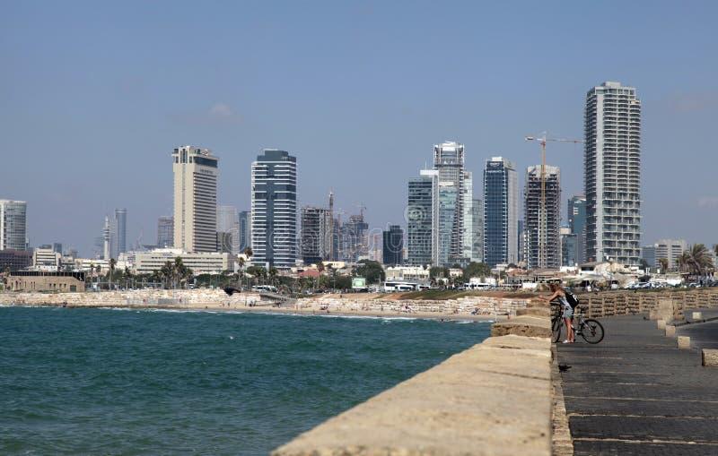 Waterkant van Tel. aviv-Yafo en Middellandse Zee, Tel Aviv, Isr royalty-vrije stock foto's