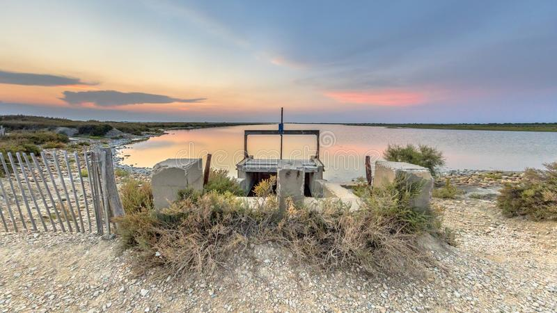 Waterkerings kleurrijke lagune Camarque stock fotografie