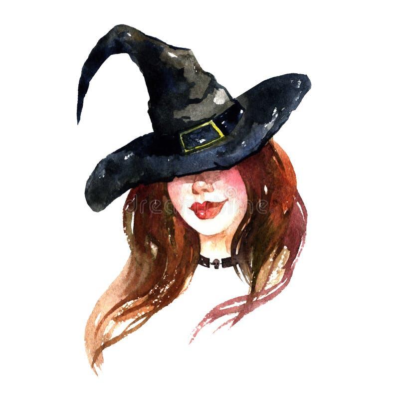 Waterkleurillustratie met een sexy heks in een hoed Hand tekening halloween briefkaart stock foto's