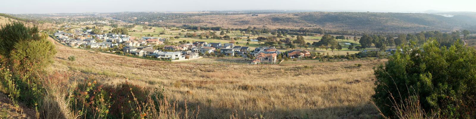 Waterkloof and its golf course, Pretoria, South Africa. A panorama image showing the affluent suburb of Waterkloof in Pretoria, South Africa. It also has a golf royalty free stock images