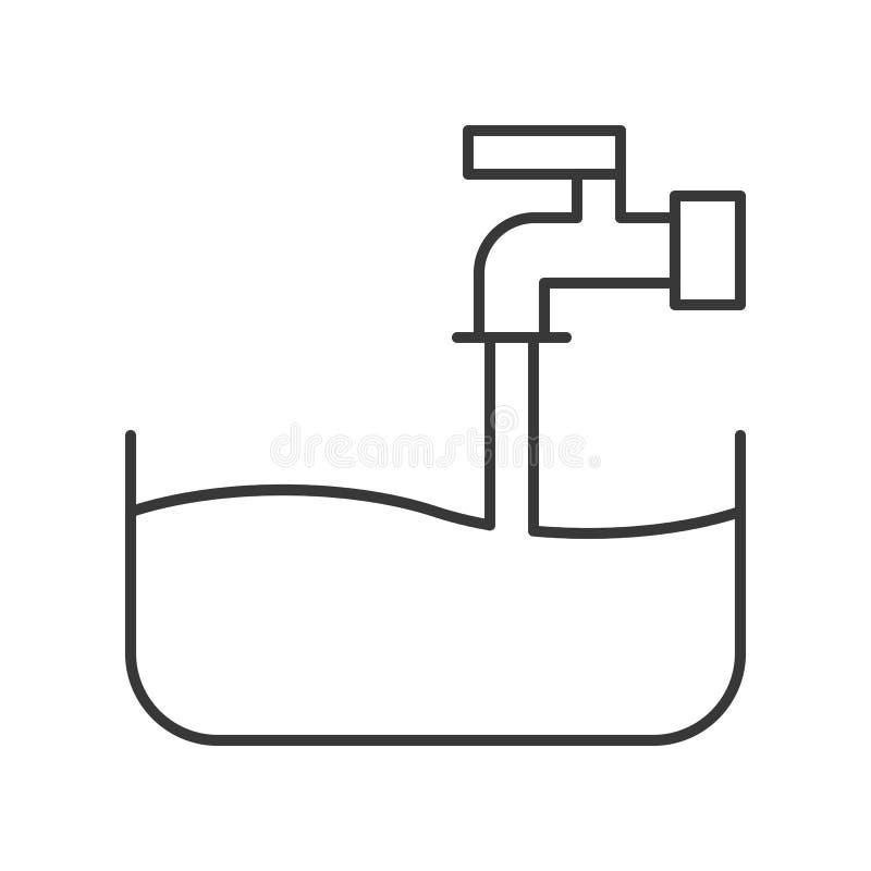 Waterkraan gevuld water aan bassin, de schoonmakende verwante dienst, outli stock illustratie