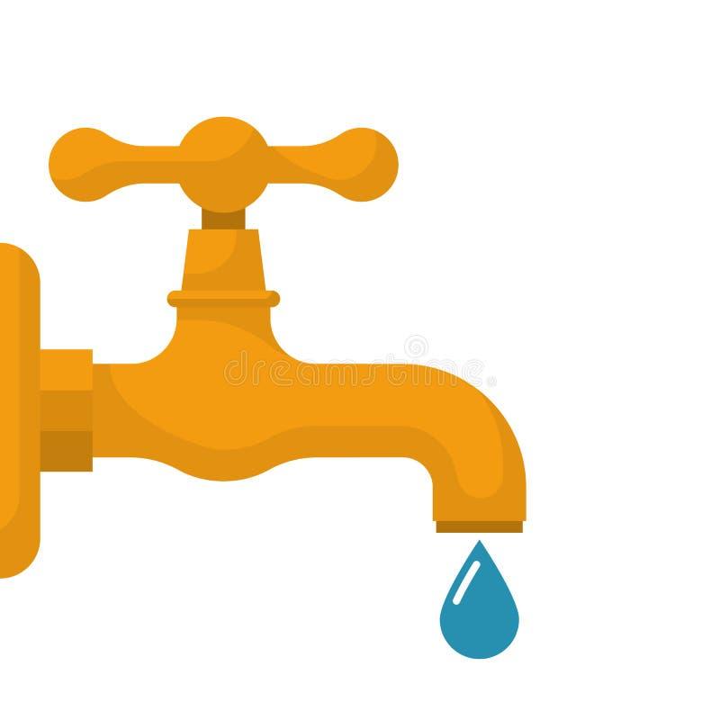 Waterkraan met dalende daling stock illustratie