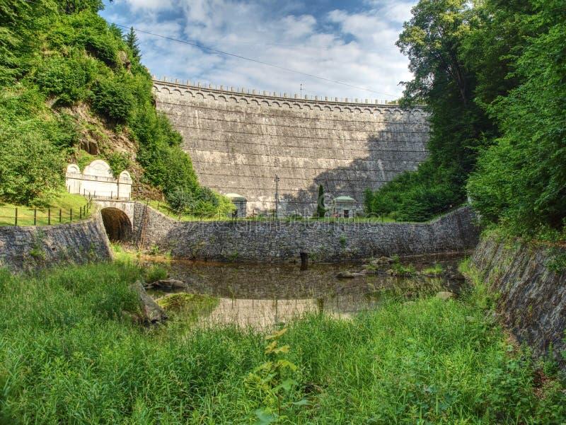 Waterkracht samen met dammen wordt gebruikt om elektriciteit te produceren die royalty-vrije stock afbeeldingen