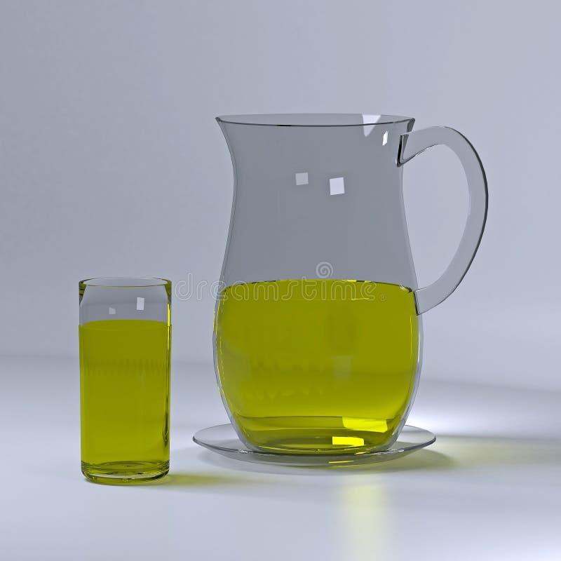 Waterkruik en glas limonade royalty-vrije illustratie