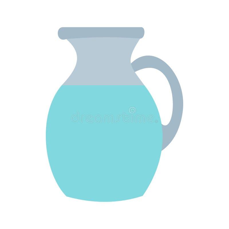 Waterkruik en glas van melkpictogram, vlakke stijl stock illustratie