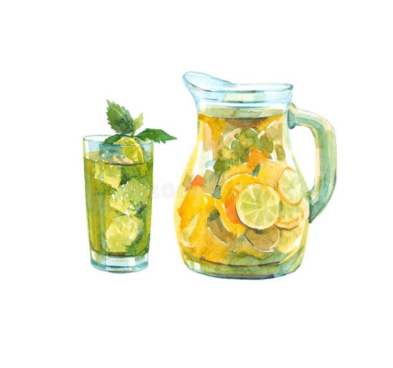 Waterkruik limonade Glas met een drank stock illustratie